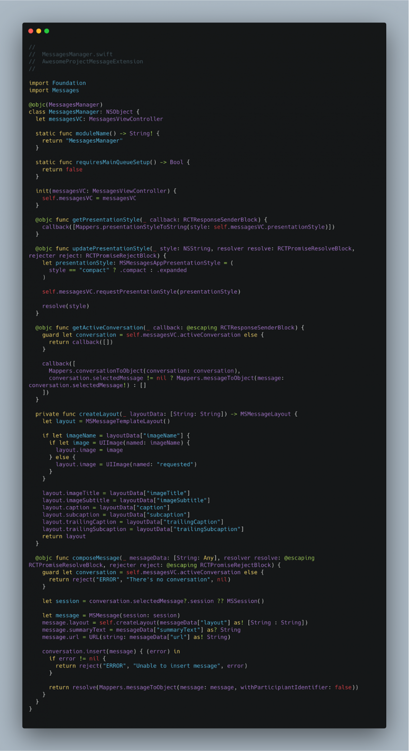 Initial structure of MessagesManager.swift