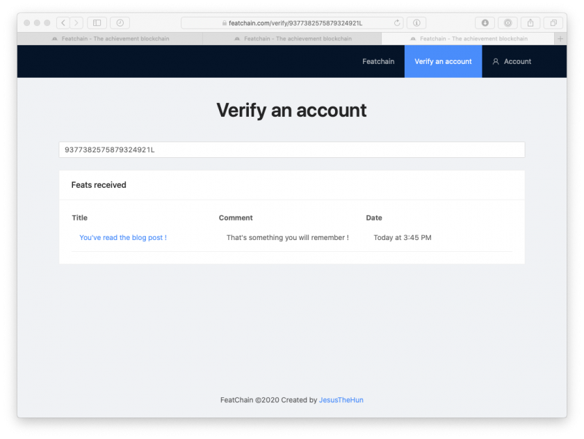 FeatChain Verify an Account